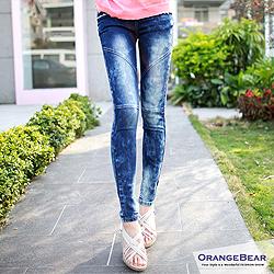 0607新品【特價款】玩美比例~蕾絲邊口袋雪花暈染內搭單寧窄管褲