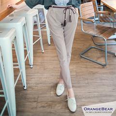 1024新品 通勤最愛~附編織腰帶彈性腰圍休閒西裝褲‧3色