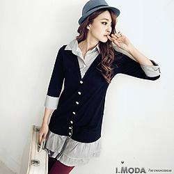 【大碼女孩專屬】氣質風條紋長版假兩件襯衫.3色