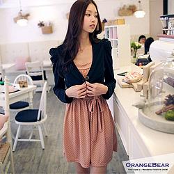 1004新品 超值推薦~點點細肩帶公主袖小外套兩件組嚴選洋裝.3色