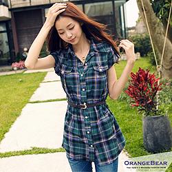 0502新品 瘦剪裁~附編織腰帶格紋長版襯衫.2色