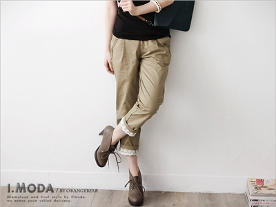 【瘋狂下殺!均一價$149】法式輕雅蕾絲嚴選素面反折老爺褲.2色
