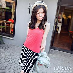 0310新品 輕調休閒~素色x清爽條紋棉質背心裙.3色
