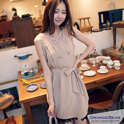 【大碼女孩專屬】雙排釦腰綁帶絲質罩衫/洋裝‧2色