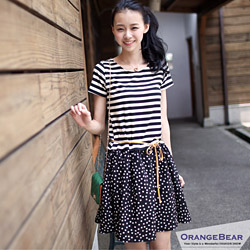 甜心季節~圓領清爽條紋x俏麗點點連身洋裝
