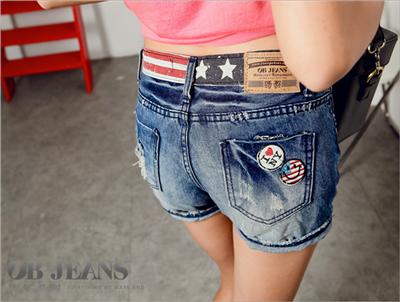 玩味美式~星星條紋洗色刷破嚴選韓版牛仔短褲