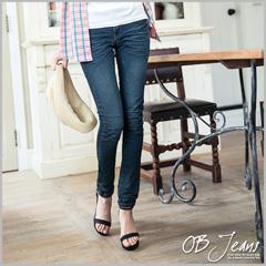 0625新品 細腿名模~嚴選韓版質感水洗刷紋彈性深藍窄管牛仔褲