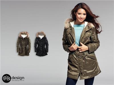 獨家設計系列~N3B甜辛風格毛領帽光澤面軍外套‧2色