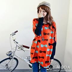 1030新品 淘氣俏皮~蝴蝶結圖案撞色袖細針織長版上衣‧2色