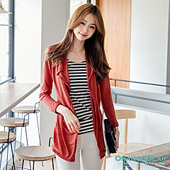0924新品 優雅漫步~橫條紋撞色開襟假兩件式棉質長版上衣.3色