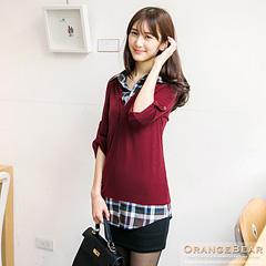 1120新品 休閒氣質~假兩件格紋長版棉質襯衫.2色