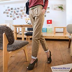 輕鬆美學~修飾感打褶褲腳卡其長褲‧3色