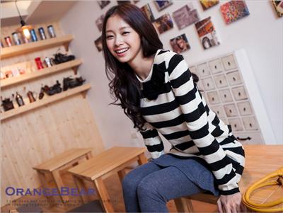【瘋狂下殺!任選$149】 嚴選韓版公主袖條紋棉質長版上衣.2色