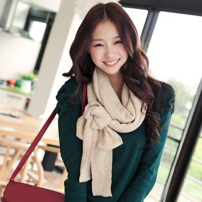 多樣變化~可綁蝴蝶結造型韓版針織圍巾‧5色