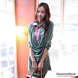 0901新品 甜美品味~緹花拼接圓點假兩件式洋裝.2色