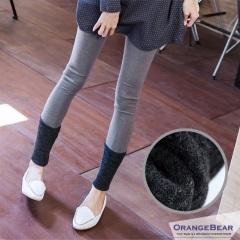 1020新品 纖細感~韓版反折接色羊毛內搭褲‧3色
