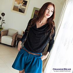 輕熟概念~垂領鏤織花紋假兩件長版上衣.2色