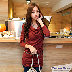 0129新品 微小性感~垂領側皺褶造型長版棉質上衣.5色