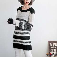 溫暖簡約~配色橫條紋嚴選粗針織長版毛衣.2色