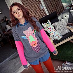 【零碼出清♥均一價$68】韓版卡通動物印圖撞色袖內磨毛T恤.2色
