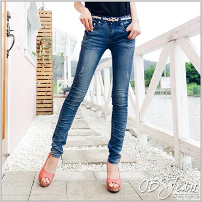 0603新品 美式風味~嚴選韓版星星印圖刷破感牛仔窄管褲