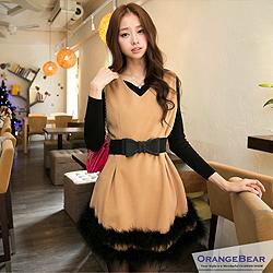 【微冬新品♥特惠99up】華麗風格傘型裙擺毛毛造型長版上衣.2色