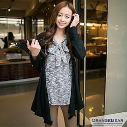 優美旋律~領口綁帶設計假二件棉針織上衣‧3色
