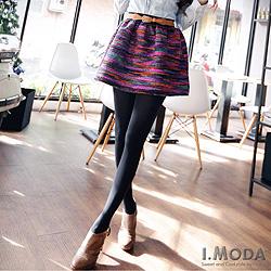 【微冬新品♥特惠99up】彩虹色調織紋A字蓬蓬小短裙.2色
