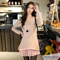 甜心娃娃~針織×雪紡寬鬆感嚴選連身洋裝‧2色