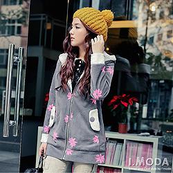 【初冬序曲上新↘100】雪花圖案內刷毛長版連帽外套.3色