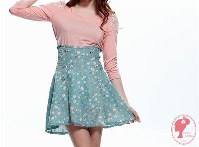 【春氛特賣】復古甜美。浪漫雙排釦碎花內襯網紗高腰短裙.2色