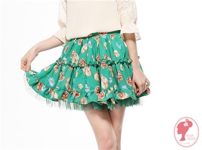 【春氛特賣】好感蔓延~鮮豔印花蕾絲網紗拼接荷葉邊短裙‧2色