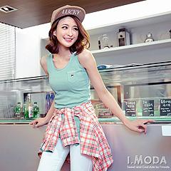 0326新品 Hit大流行~圓領骷髏小口袋羅紋挖背長版背心.5色