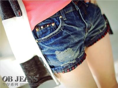 【瘋狂下殺!均一價$149】時尚大作戰~強勢個性拼格紋口袋嚴選韓版牛仔短褲
