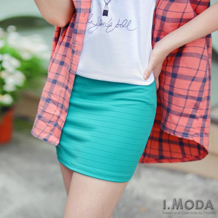 0608新品【特價款】吸睛主角~飽和彩度坑條Sexy小包臀短裙.5色