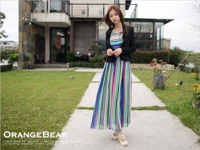 亮麗氛圍~鮮豔彩色條紋背心式嚴選洋裝‧2色