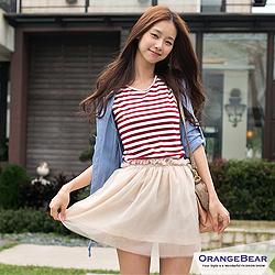 0327新品 小蘿莉風~圓領背心式條紋蓬蓬紗裙連身小洋裝‧3色