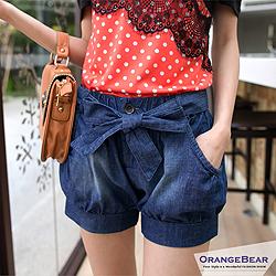 個性品味~可愛造型綁帶打褶感仿牛仔短褲‧2色