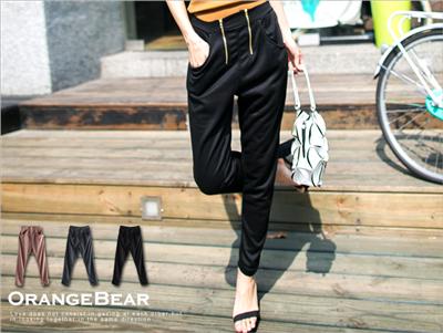 【春夏斷碼♥2件59折】極致視覺~時尚雙拉鍊造型棉質長褲‧3色
