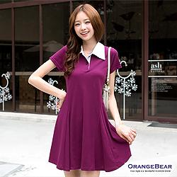 0925新品 率真自信 完美線條傘狀裙擺POLO洋裝‧2色