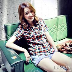 【午餐特賣會】個性潮流~皮革裝飾口袋棉質格紋襯衫‧3色