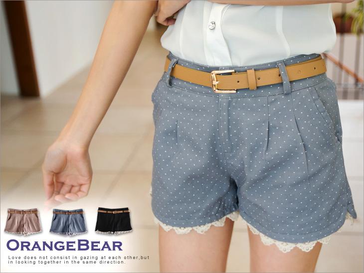 蜜糖娃兒~褲擺拼接蕾絲設計點點短褲?3色