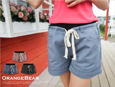 【春夏斷碼♥2件59折】自在嚮往~撞色腰圍抽繩綁帶反折短褲‧3色