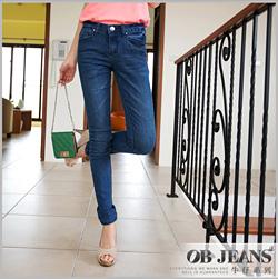 窈窕纖腿~金屬鉚釘假口袋造型刷色窄版嚴選牛仔長褲