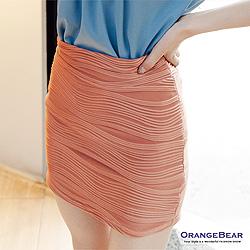 0814新品 清新柔和~二穿立體橫條紋彈性棉質短裙/上衣‧5色