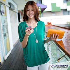 0922新品 簡單印象~圓領雙口袋造型飛鼠袖上衣‧5色