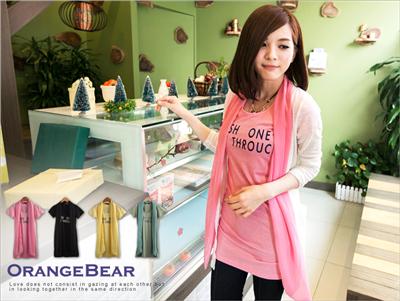 【春氛特賣】流行品味~造型領巾字母燙印棉質長版T恤‧4色