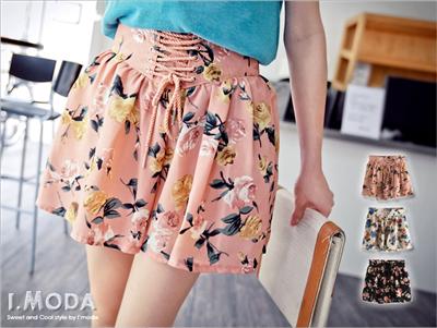 0509新品 別出心裁~氣質玫瑰印花束腰褲裙‧3色