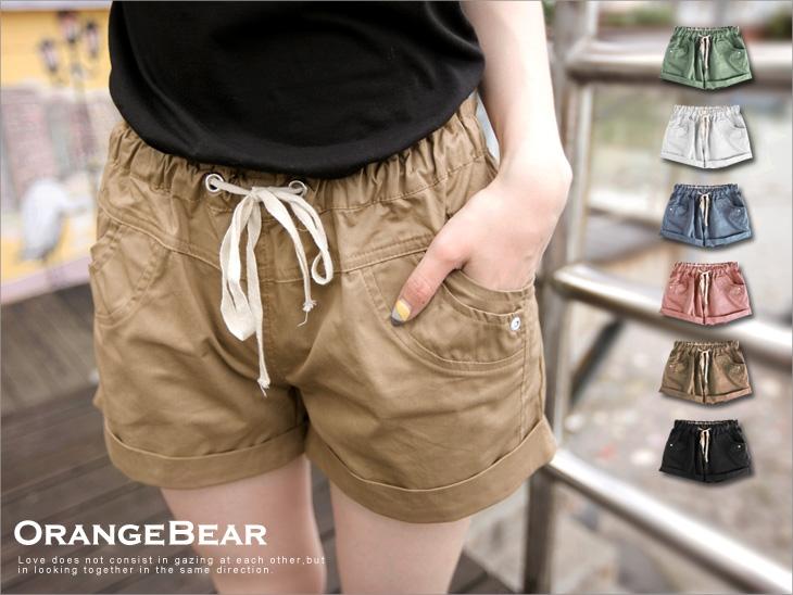 活潑耀眼~抽繩綁帶反折造型棉質短褲?6色