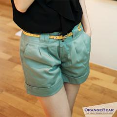 0924新品 悠閒自在~雙釦打摺造型反折短褲‧3色